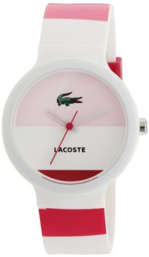 ddf34624360 Lacoste White And Pink Silicone Ladies Watch - 2010533 Lacoste.  68.25. 30  Metres Water Resistance