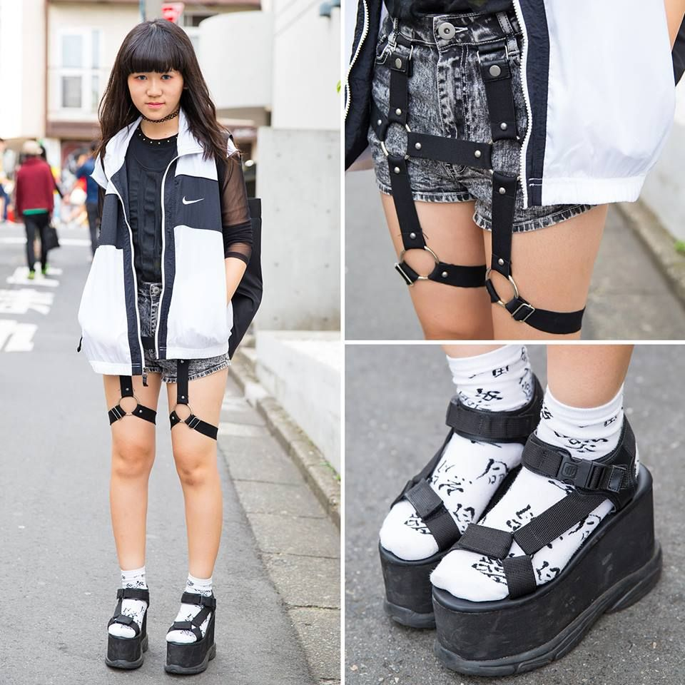 acaa808ff9c Japanese high school student Ayuka on the street in Harajuku wearing a Nike  vest over a Fig   Viper top