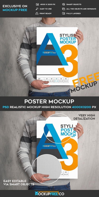 Free Poster A3 PSD Mockup | Free PSD Templates | #free