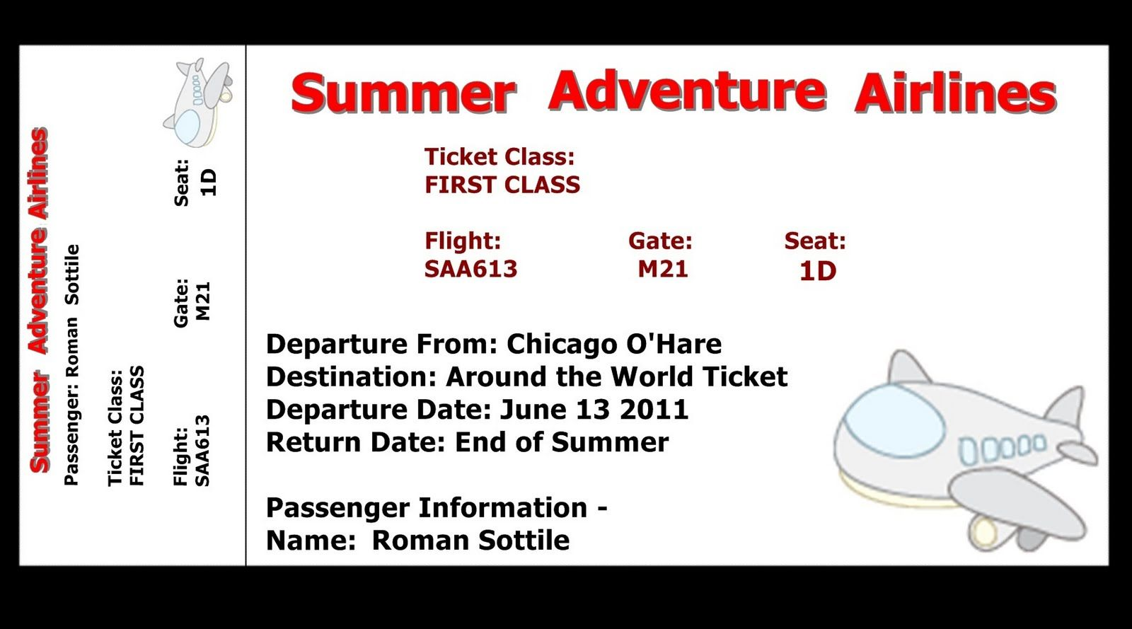 Printable Airline Ticket Template Free Ticket Template