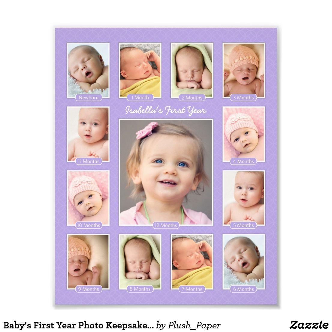Baby S First Year Purple Photo Keepsake Collage Zazzle Com Baby Photo Collages Baby Collage Babies First Year