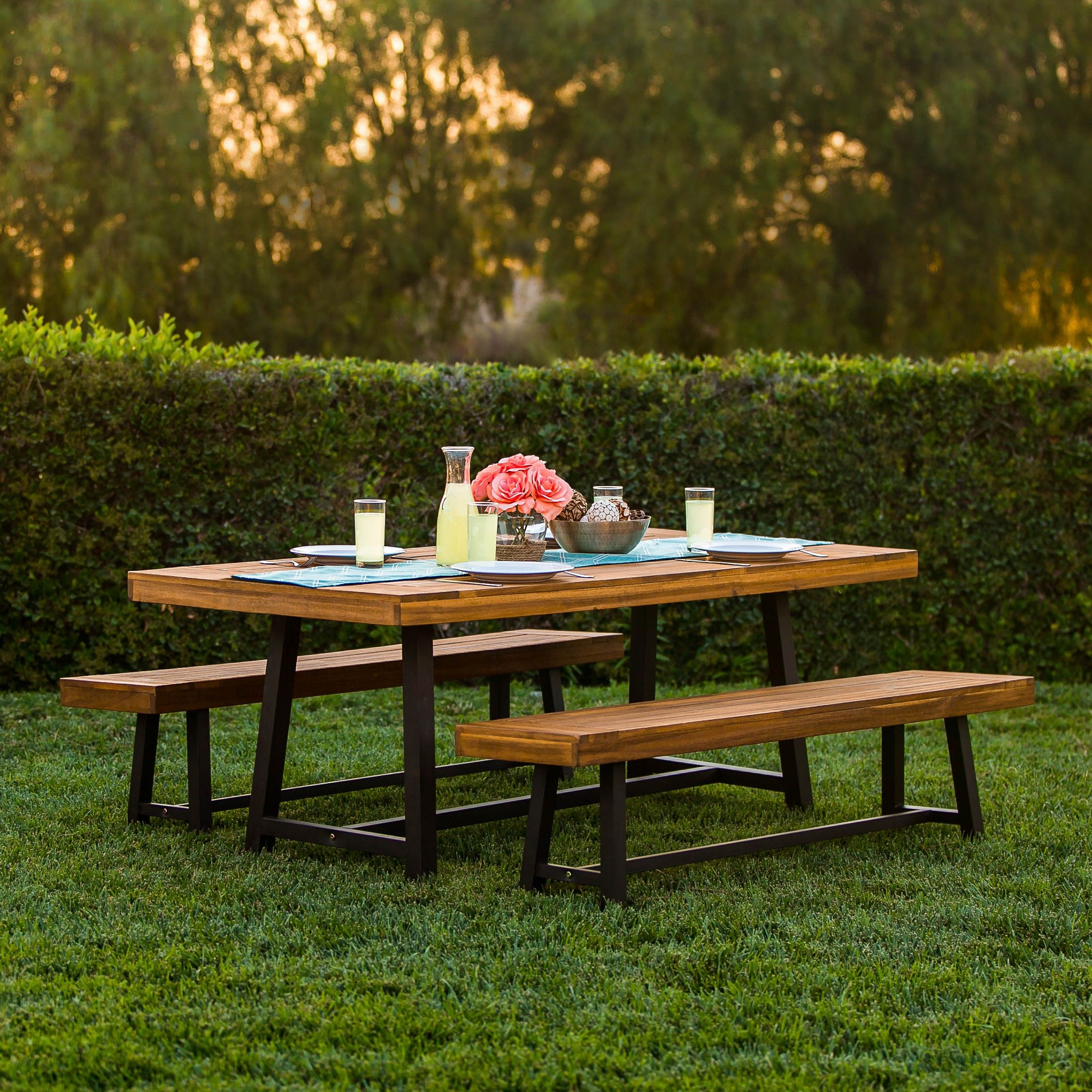 Best Choice Products 3 Piece Acacia Wood Picnic Style Outdoor