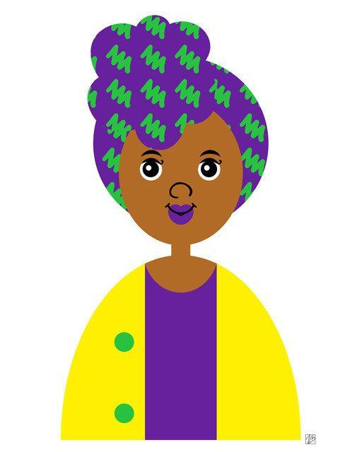Girl 14 Purple Headscarf Girl Illustration Art by thepairabirds