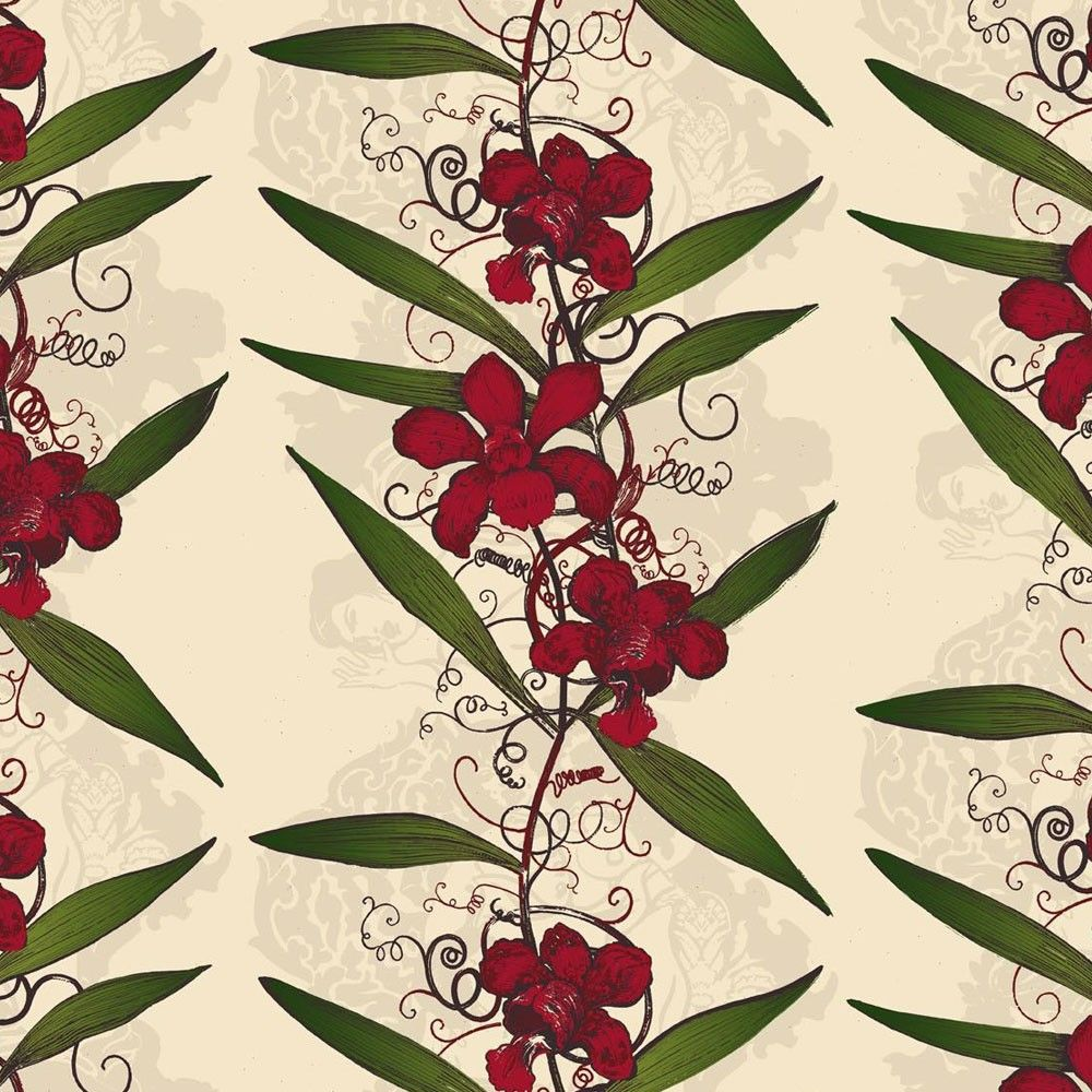 Wonderful Timorous Beasties Oriental Orchid Hand Print Wallpaper Pictures