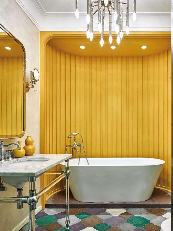 Ideas para combinar colores y texturas en tu casa ba o for Revestimiento de madera para banos
