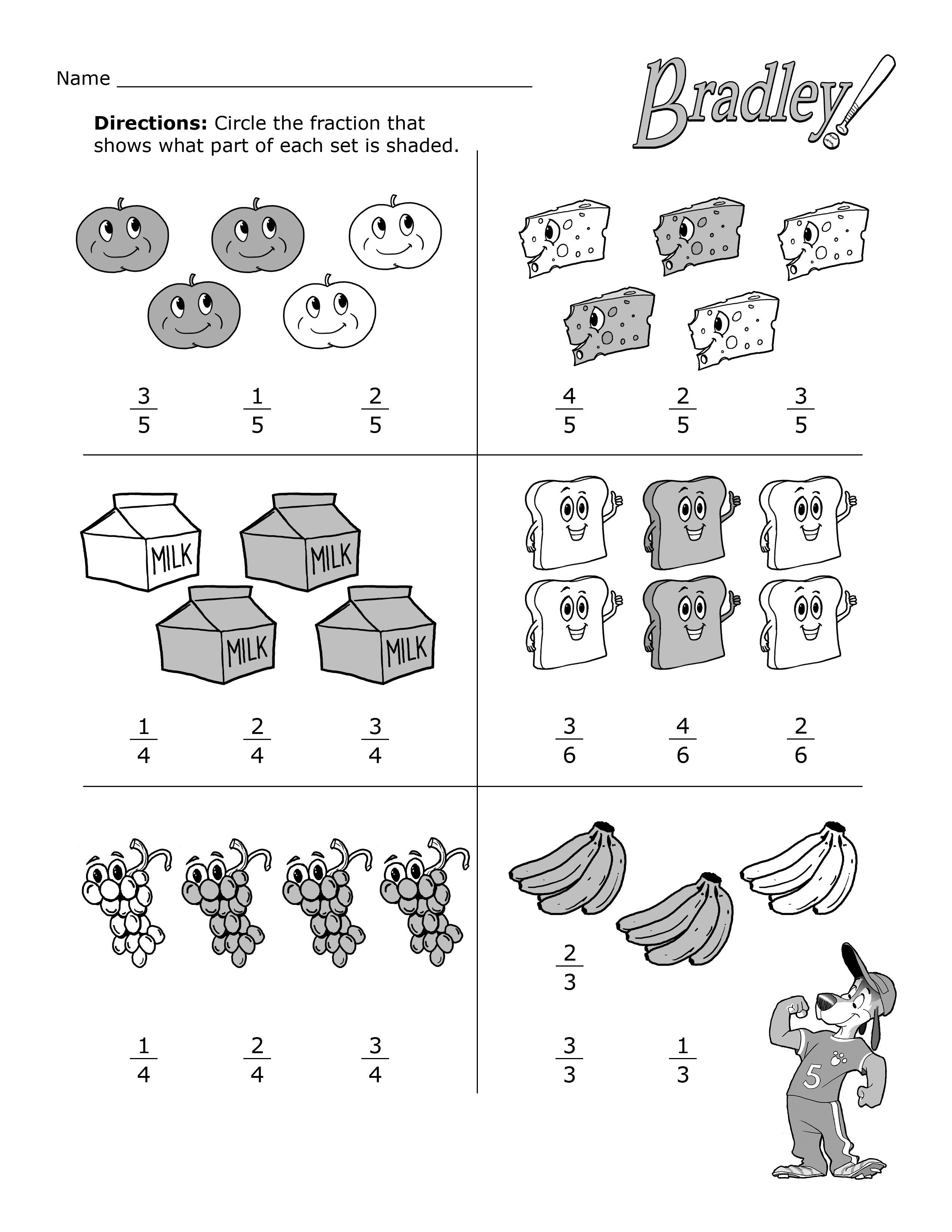 Second Grade Worksheets   Fractions worksheets [ 3300 x 2550 Pixel ]