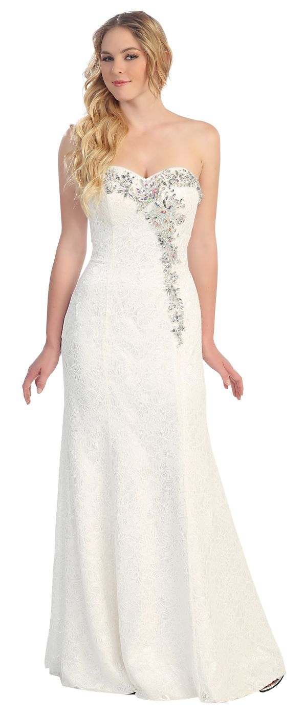 Strapless stunning lace floor length simple wedding dress
