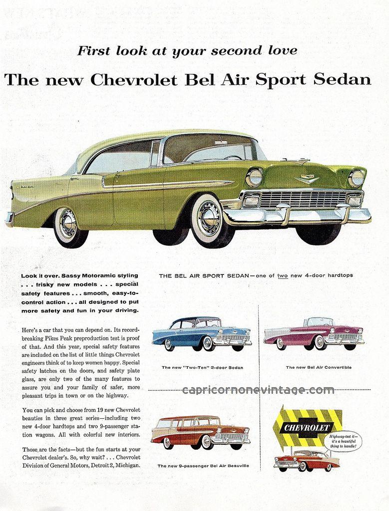 1956 Chevrolet Bel Air Car Ad Chevrolet Bel Air Car Ads Vintage Cars 1950s