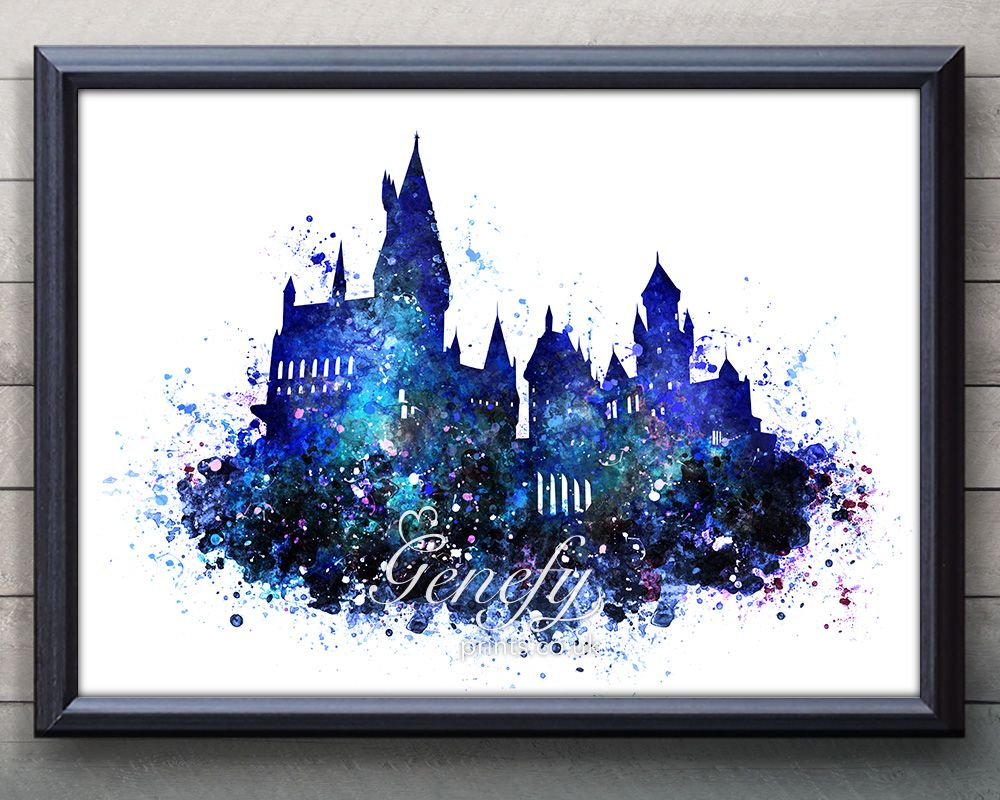 Harry potter hogwarts castle watercolor painting art