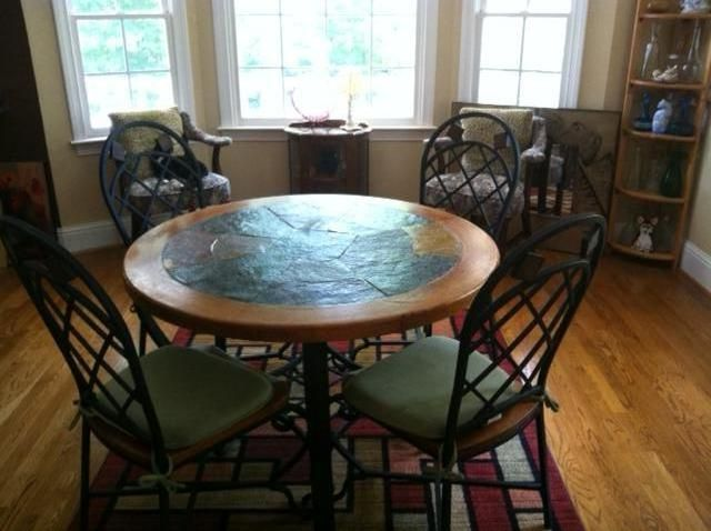 Beautiful Slate Top Dining Table With 4 Chairs Dining Table