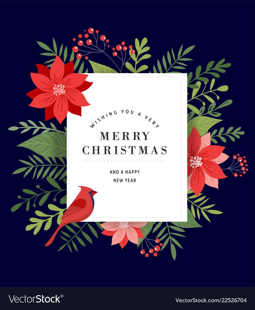 Merry Christmas Greeting Card Banner And Vector Image On