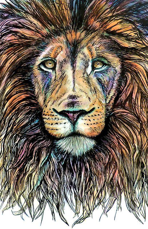 Rainbow Lion By Bparsh Lion Painting Lion Illustration Lion Art