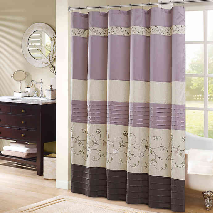 Madison Park Serene Embroidered Shower Curtain In 2020 Purple