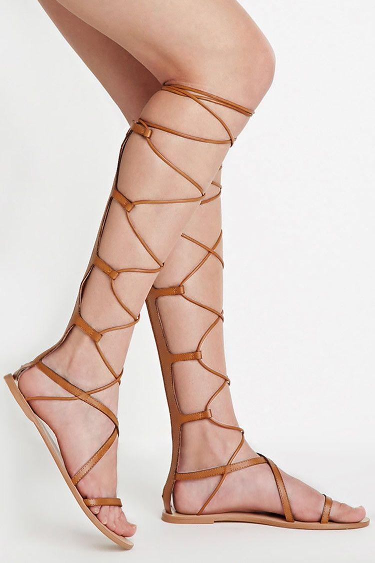 d614f3c2bd6d Faux Leather Gladiator Sandals