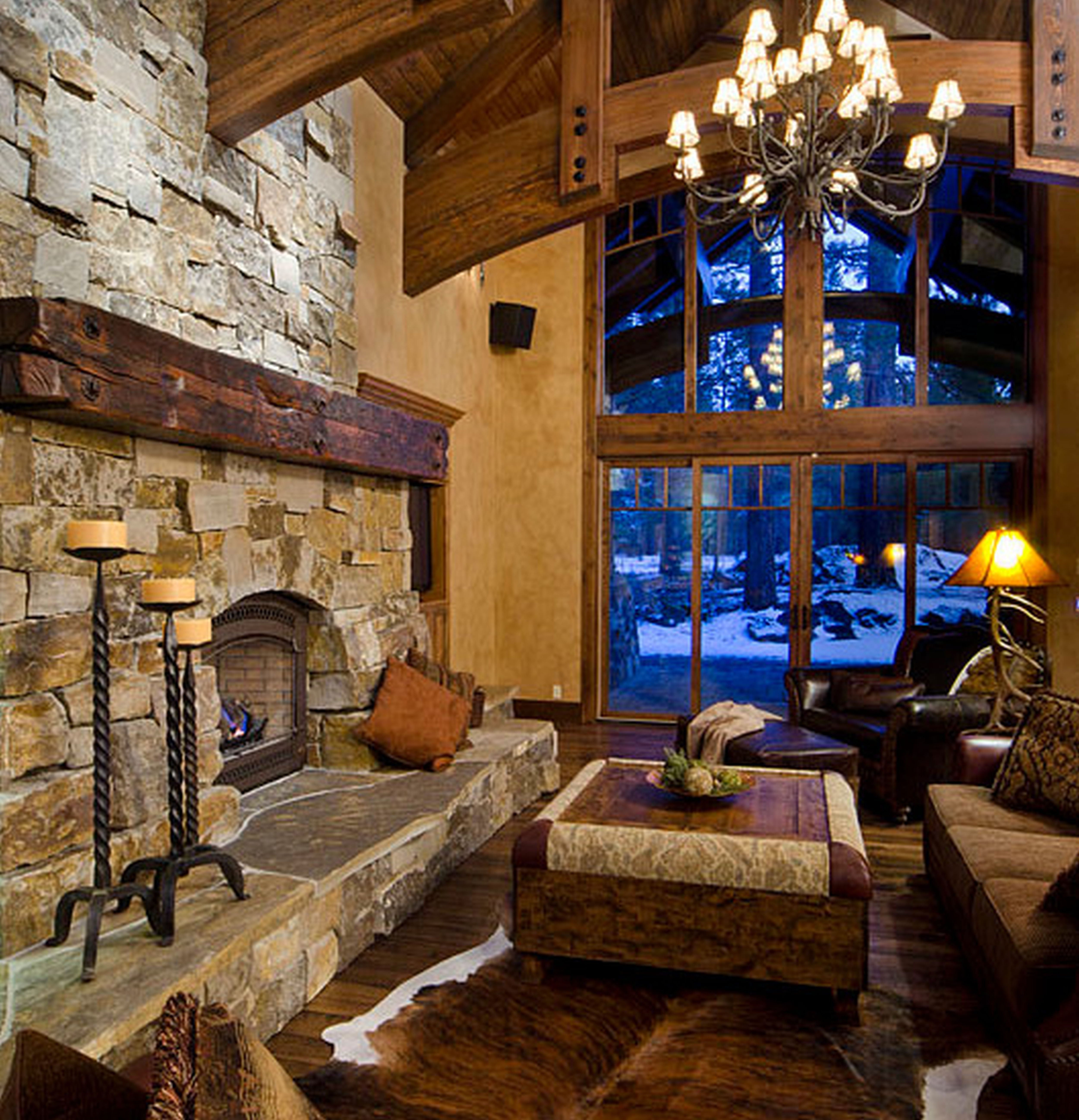 Cozy Rustic Living Room Fireplaces: Architecture Attractive Cultured Stone Cozy Living Room