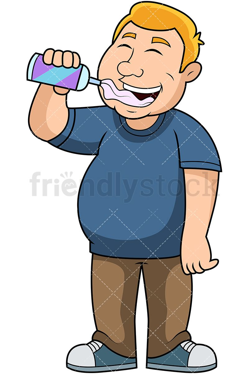 fat man eating whipped cream royalty free stock vector illustration of a slightly overweight man smiling while putting whipped cream into his mouth  [ 800 x 1200 Pixel ]