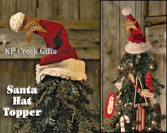 Santa Hat Tree Topper. Perfect For A Country Christmas