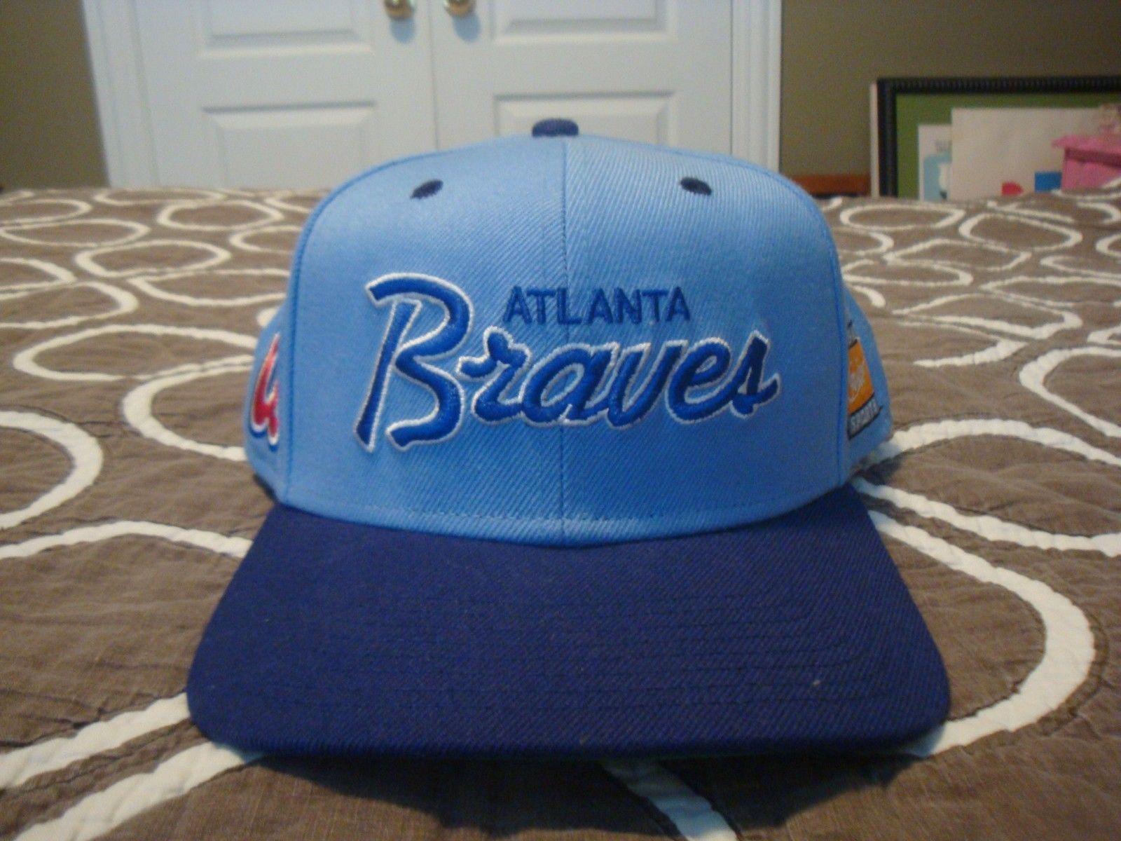 Vtg Style Atlanta Braves Snapback Hat Cap Nike Script Light Blue Retro 90s 80s Snapback Hats Atlanta Braves Braves