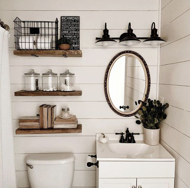Photo of Powder room inspiration. Maybe glass or metal shelves since our shiplap isn't wh…