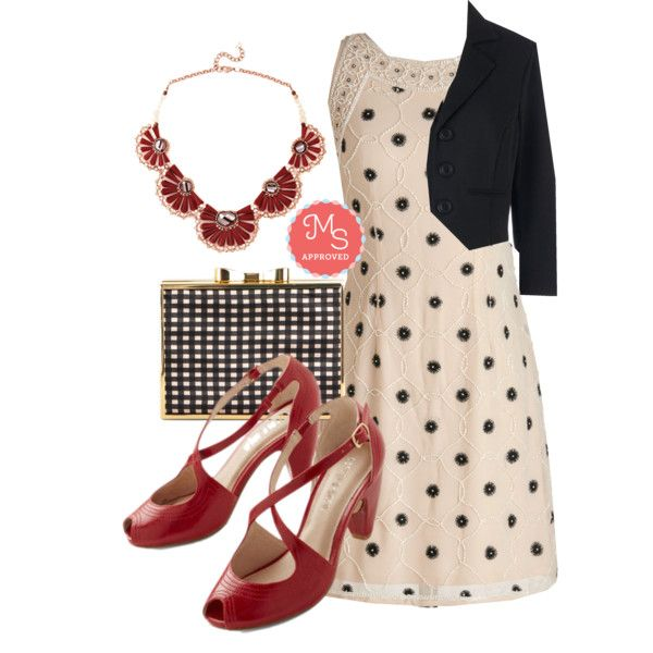 In this outfit: Going, Going, Paragon Dress, You're in Business Blazer, Instantly Impressive Necklace, Bling Outside the Box Clutch, Traverse and Chorus Heel in Rouge #workwear #vintage #shiftdress #blazer