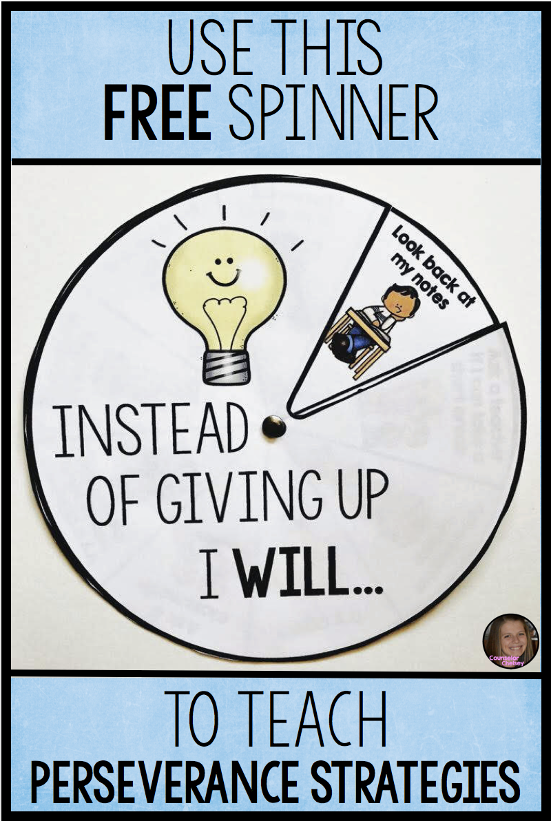 Perseverance Strategies Spinner Free Perseverance For Kids Character Education Lessons Perseverance Activities