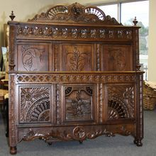 Spindled Brittany Carved Bed Antique French Full Size Late 1800s from Ambiance Home Antiques & Interiors on Ruby Lane