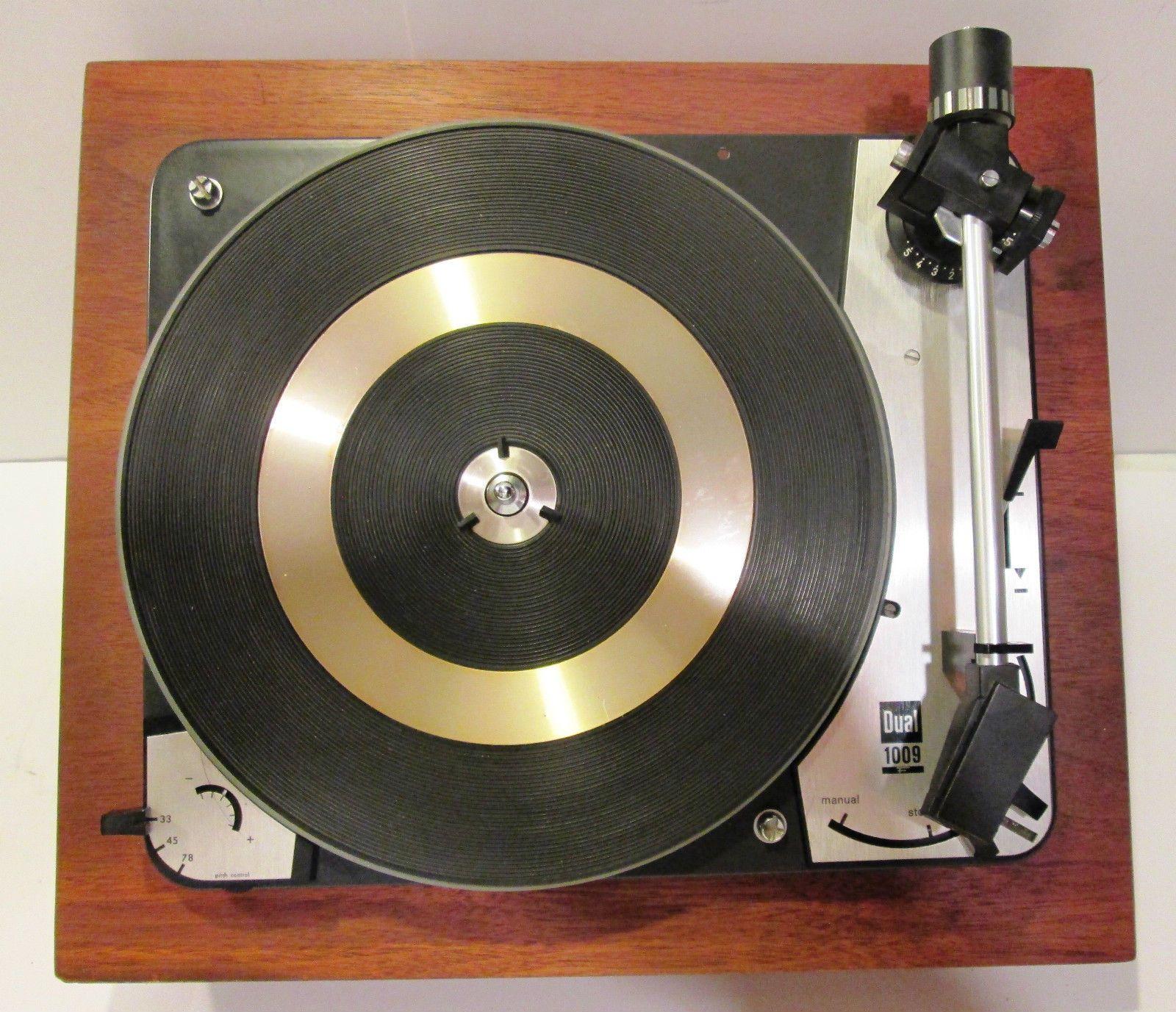 Very Nice Vintage Dual 1009 Turntable Wood Base Dust Cover