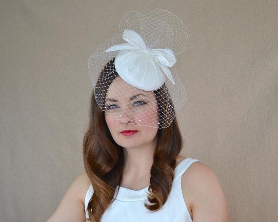 4dd7c2e07c9 Bridal Pillbox Hat with Birdcage Veil and Bow - White Bridal Fascinator  with Veil - Ivory Wedding H