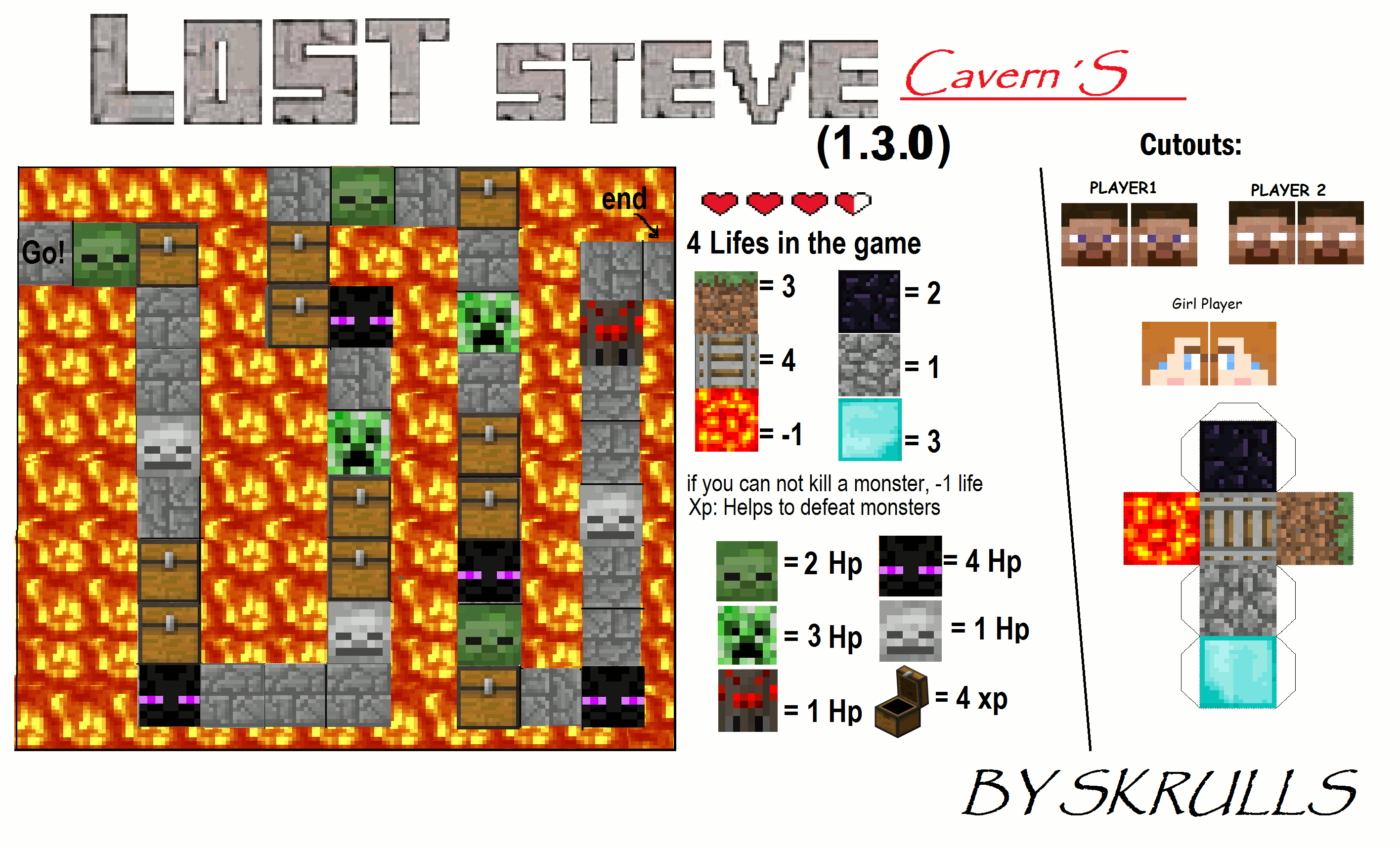 Papercraft Minecraft Lost Steve Caverns Board Game Paper Crafts Board Games Games