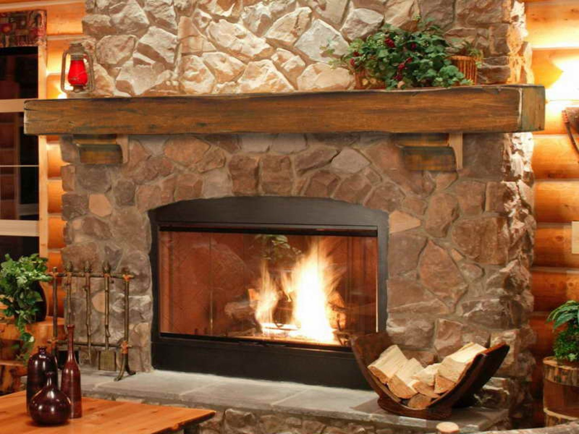 Cool stone fireplace mantels for interior design natural - Rockabilly mantel ...
