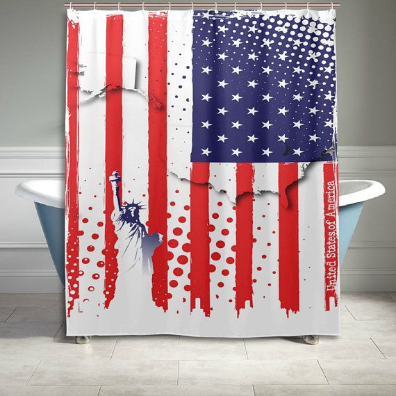 4th Of July American Flag Shower Curtain 60 X 72 Inch Stars And