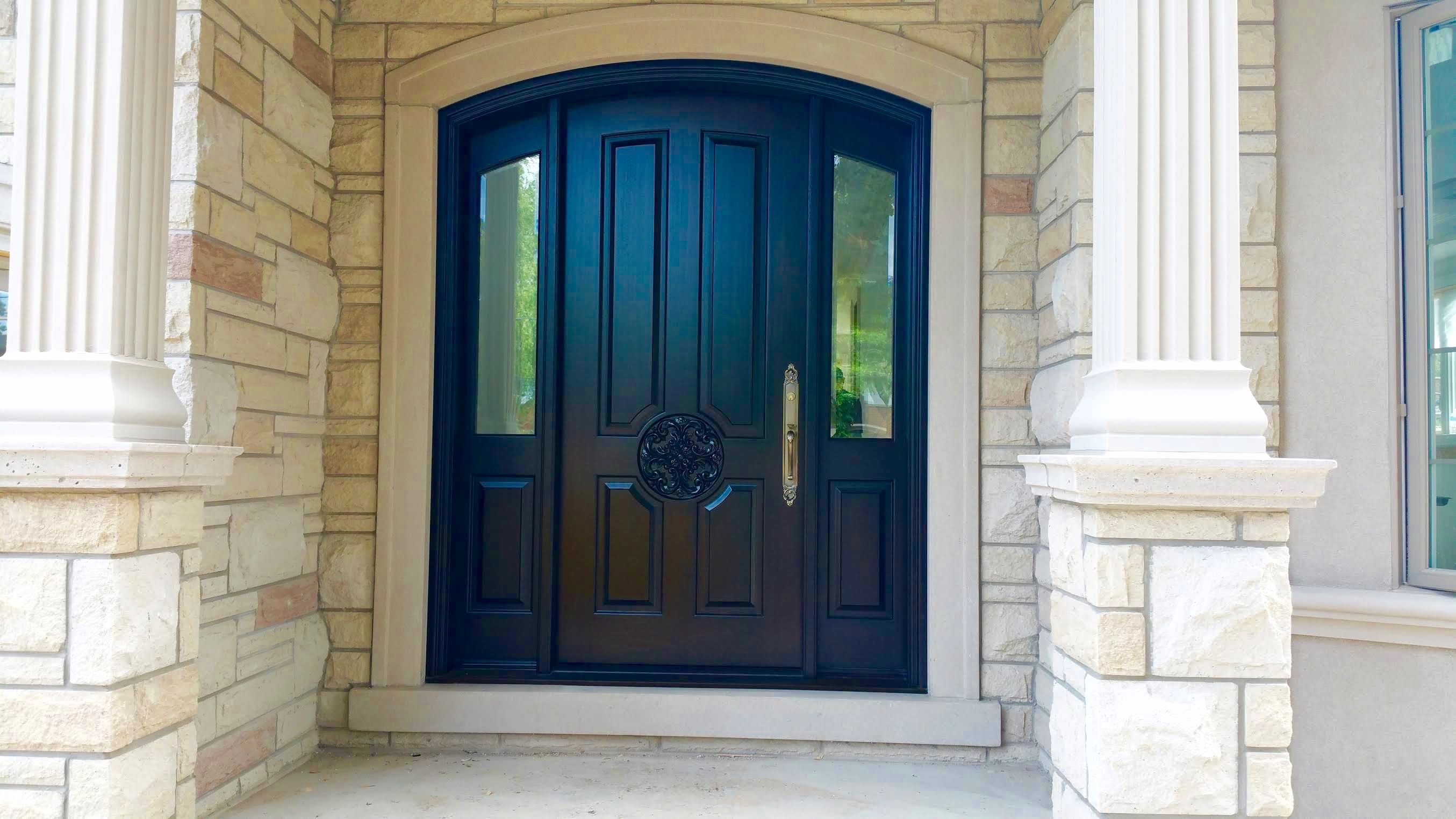 This Spectacular Amberwood Custom Deep Brown Stained Mahogany Door With Beveled Glass Sidelights L Custom Wood Doors Wooden Door Design Wood Doors