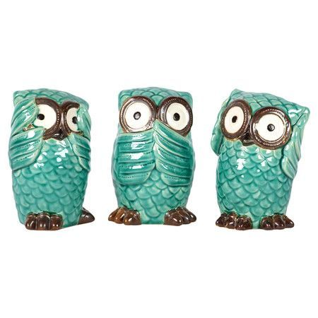 Check out these adorable Three No Evil owls!