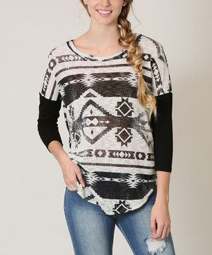 Look what I found on #zulily! flamingo Black Geometric Layer Top by flamingo #zulilyfinds