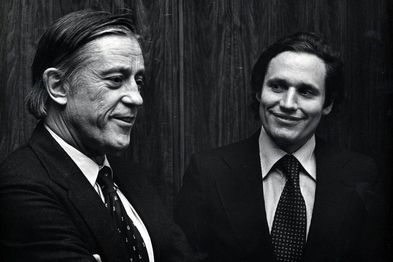 """Ben Bradlee, left, with Bob Woodward, at the premiere of """"All The President's Men"""".Ron Galella/WireImage/Getty"""
