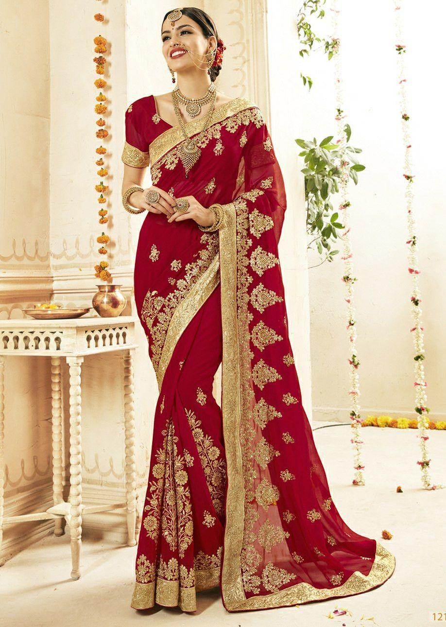 Saree Sari Indian Bollywood Wedding Fancy Designer Style Embroidery Wear L 5