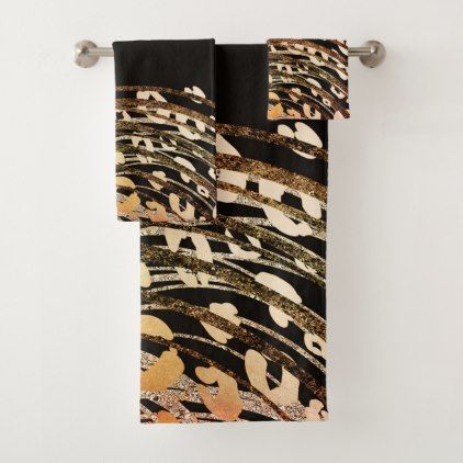 Glam Black Gold Orange Bronze Cheetah Leopard Bath Towel Set Zazzle Com Orange Gold Glam Gifts Fancy Gifts
