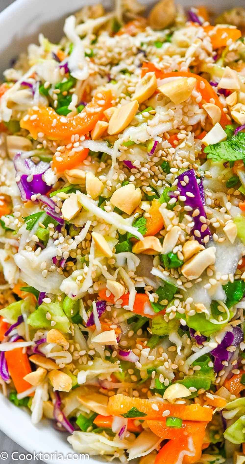 this simple asian slaw is crunchy and tasty made with simple ingredients that pack a lot of flavor this slaw recipe in 2020 slaw recipes asian slaw recipe asian slaw pinterest