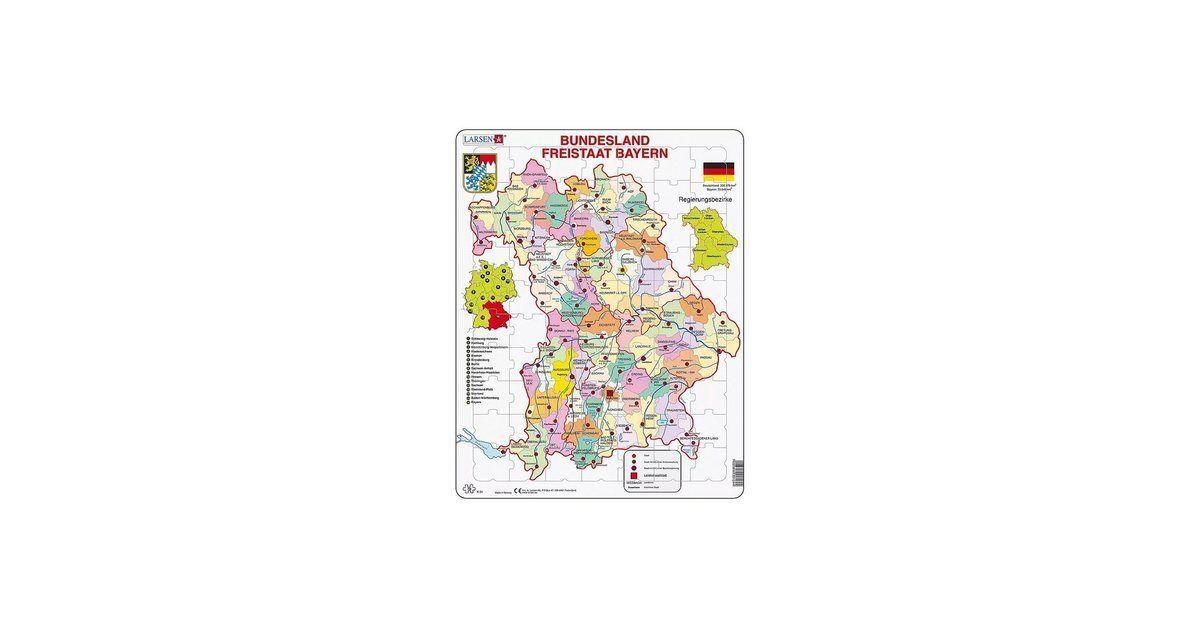 Rahmen Puzzle 70 Teile 36x28 Cm Karte Bundesland Bayern Karte