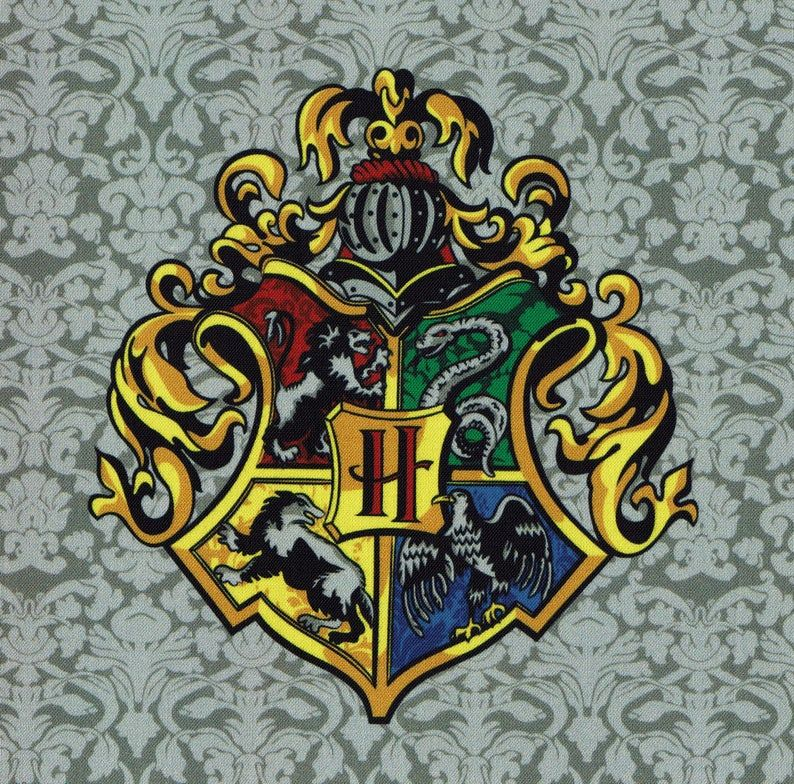 Hogwarts Crest Harry Potter Fabric Print Etsy Hogwarts Crest Harry Potter Fabric Harry Potter Quilt