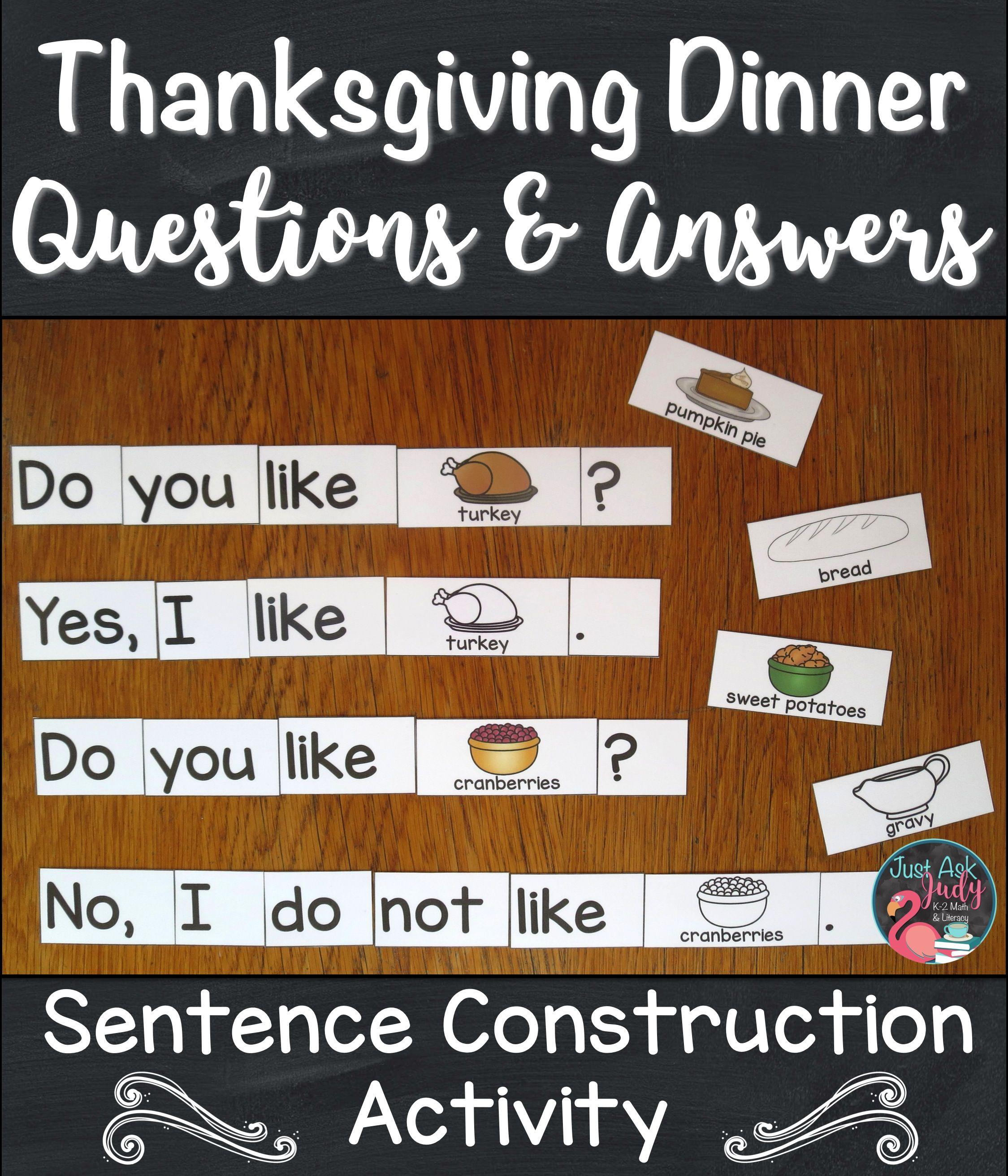 Sentence Construction Activity Thanksgiving Dinner
