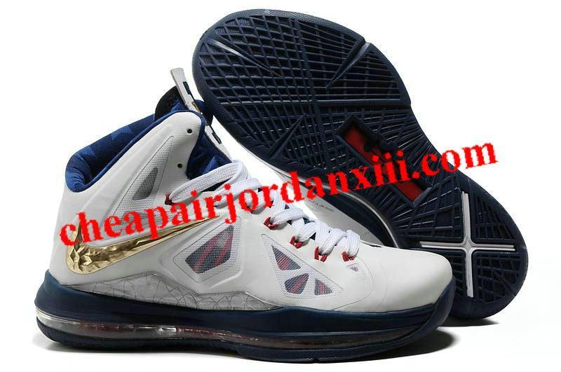 Nike Lebron James X (10) White Navy Blue Gold Shoes