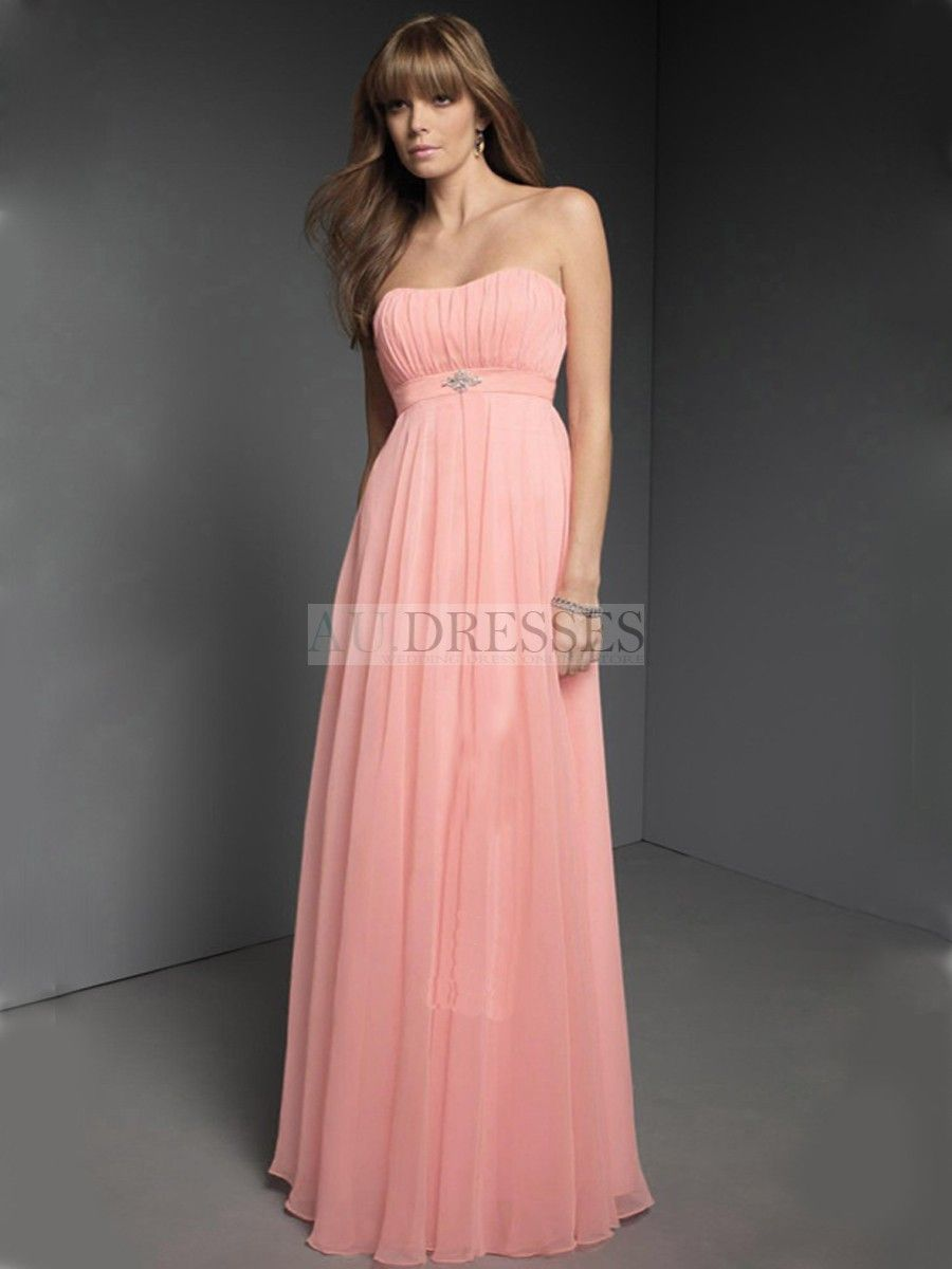 Lightpink strapless column style simple chiffon spring bridesmaid