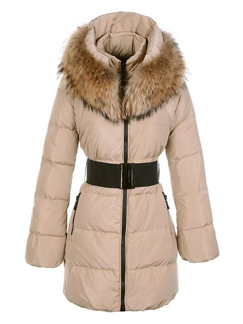Moncler Down Coats Women Deep Beige