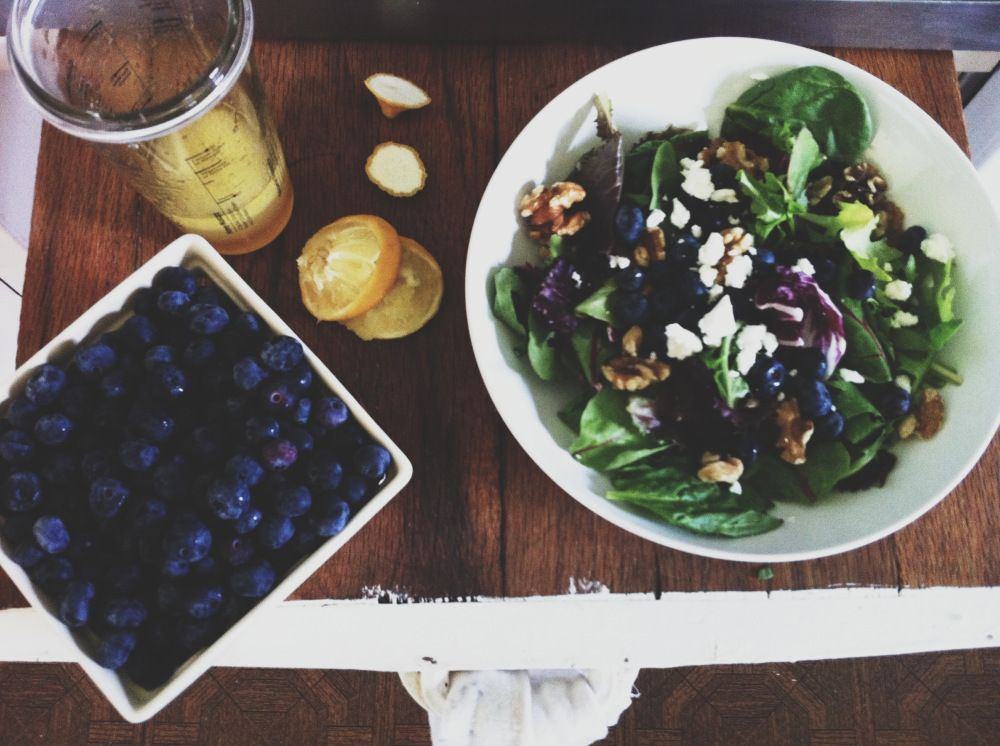 Walnut/Blueberry/Goat Cheese salad