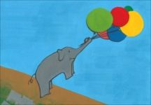 Elephant fly with balloon.