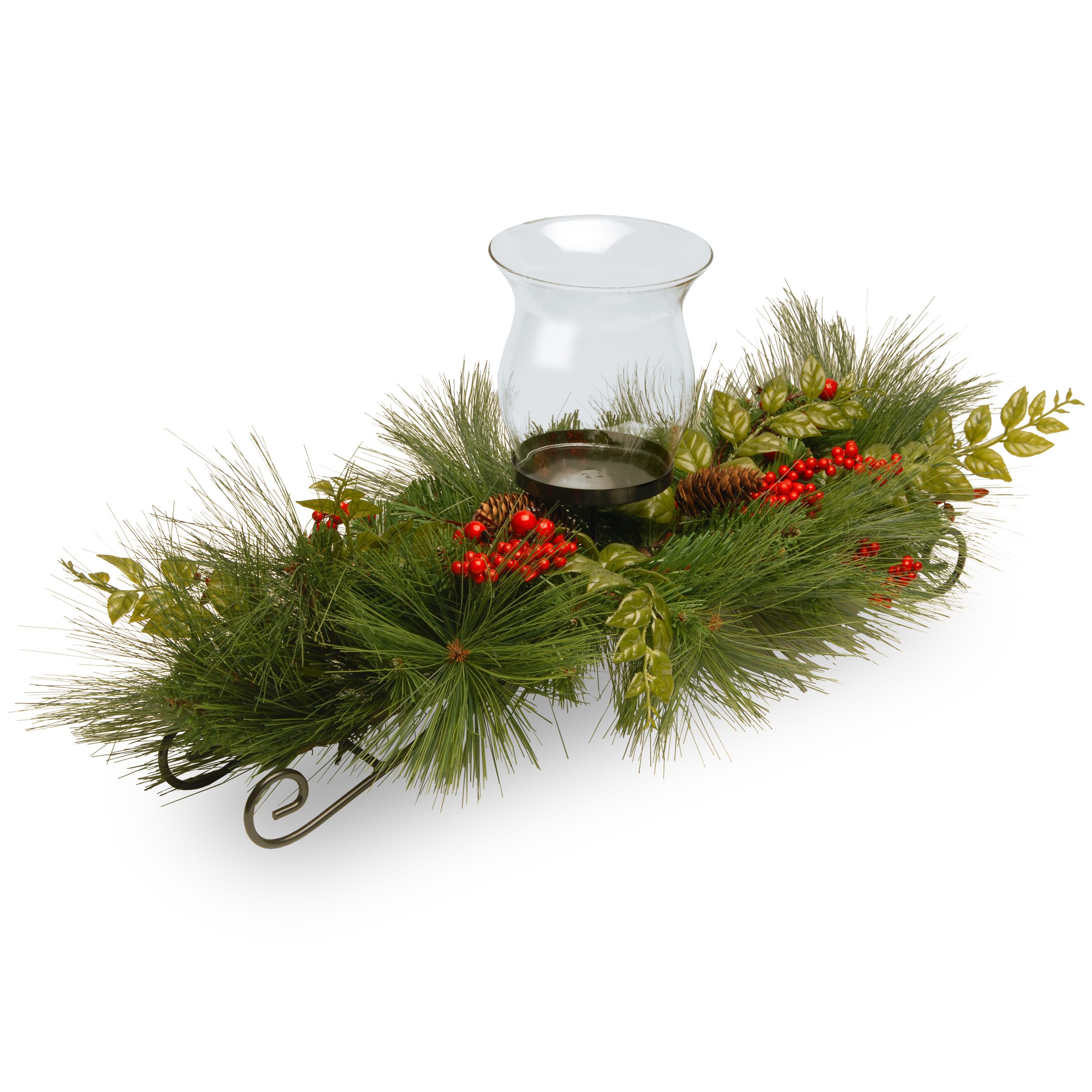 National Tree Company Mixed Bristle Pine 30 Inch 1 Candle Holder With