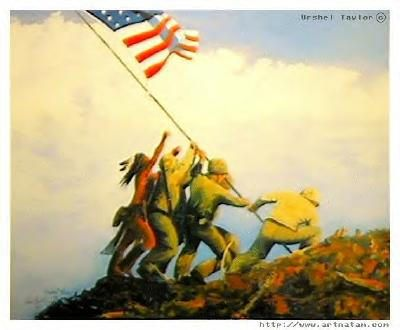 Artistic Rendition Of The Flag Raising On Iwo Jima The Native American Warrior Represents Ira Hayes A Me Ira Hayes Native American Warrior Modern Indian Art