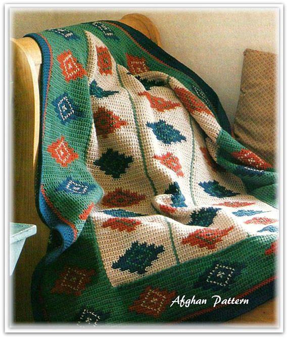 Afghan Pattern Southwest Navajo Inspired Crochet Pattern | Crocheted ...
