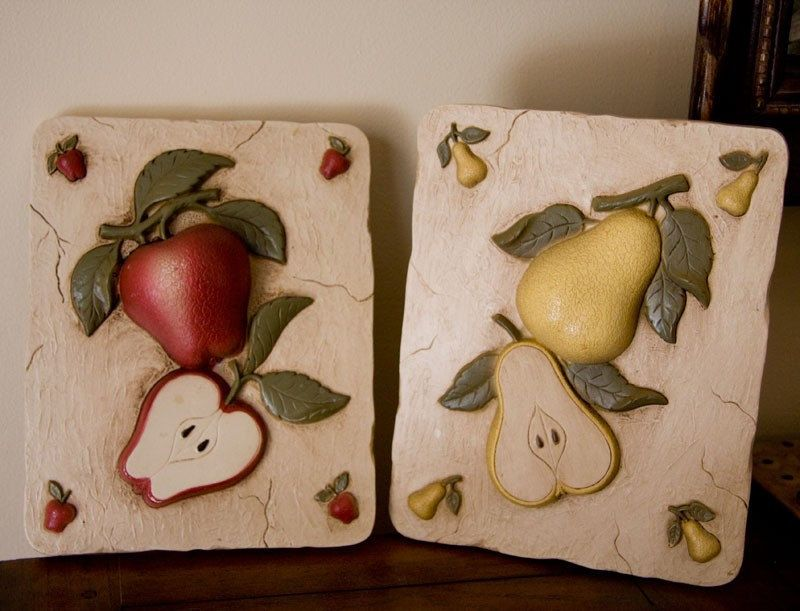 Fruit Kitchen Decor Vintage Plaques Le And Pear For 28 00 Via Etsy